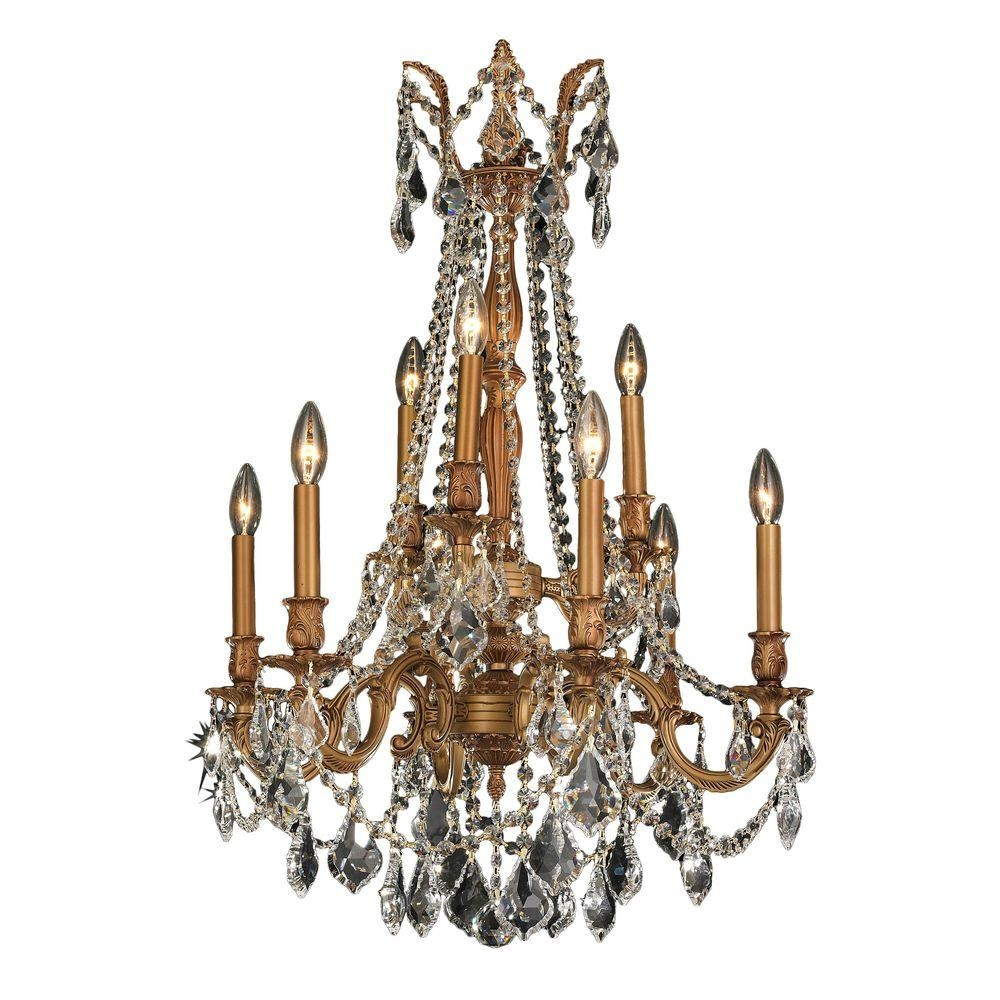 Worldwide Lighting Windsor Collection 9 Light French Gold And Pertaining To French Gold Chandelier (Image 13 of 14)