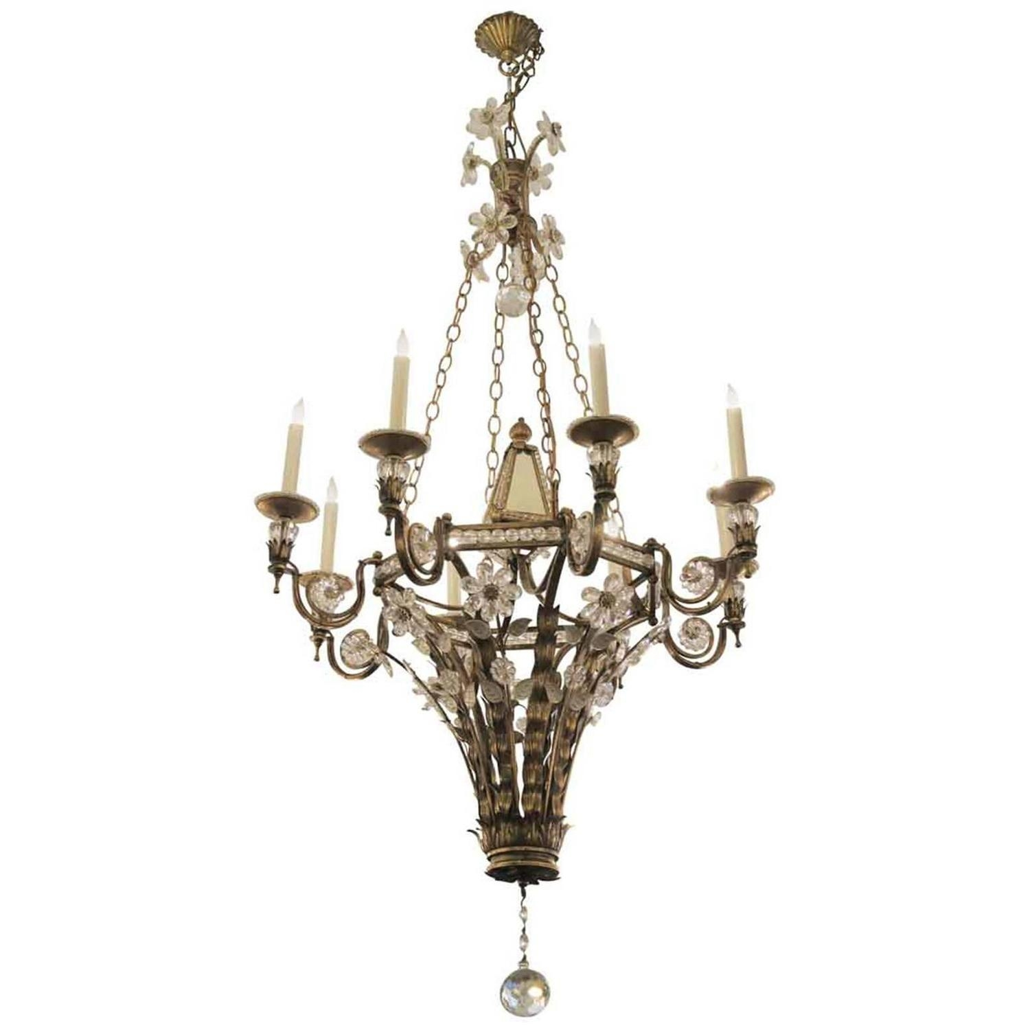 Wrought Iron And Crystal Floral Eight Arm Mirrored Chandelier With Regarding Mirrored Chandelier (Image 15 of 15)