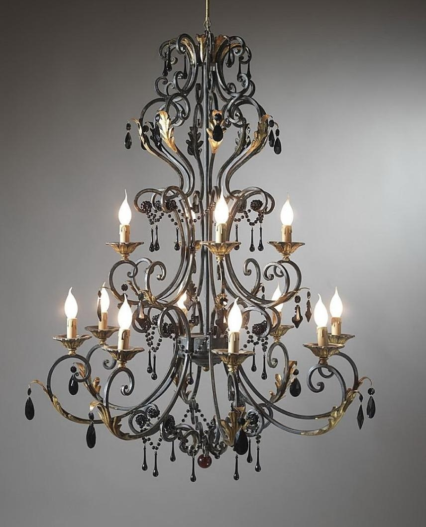 Wrought Iron Chandeliers Rustic Throughout Large Iron Chandelier (View 13 of 15)