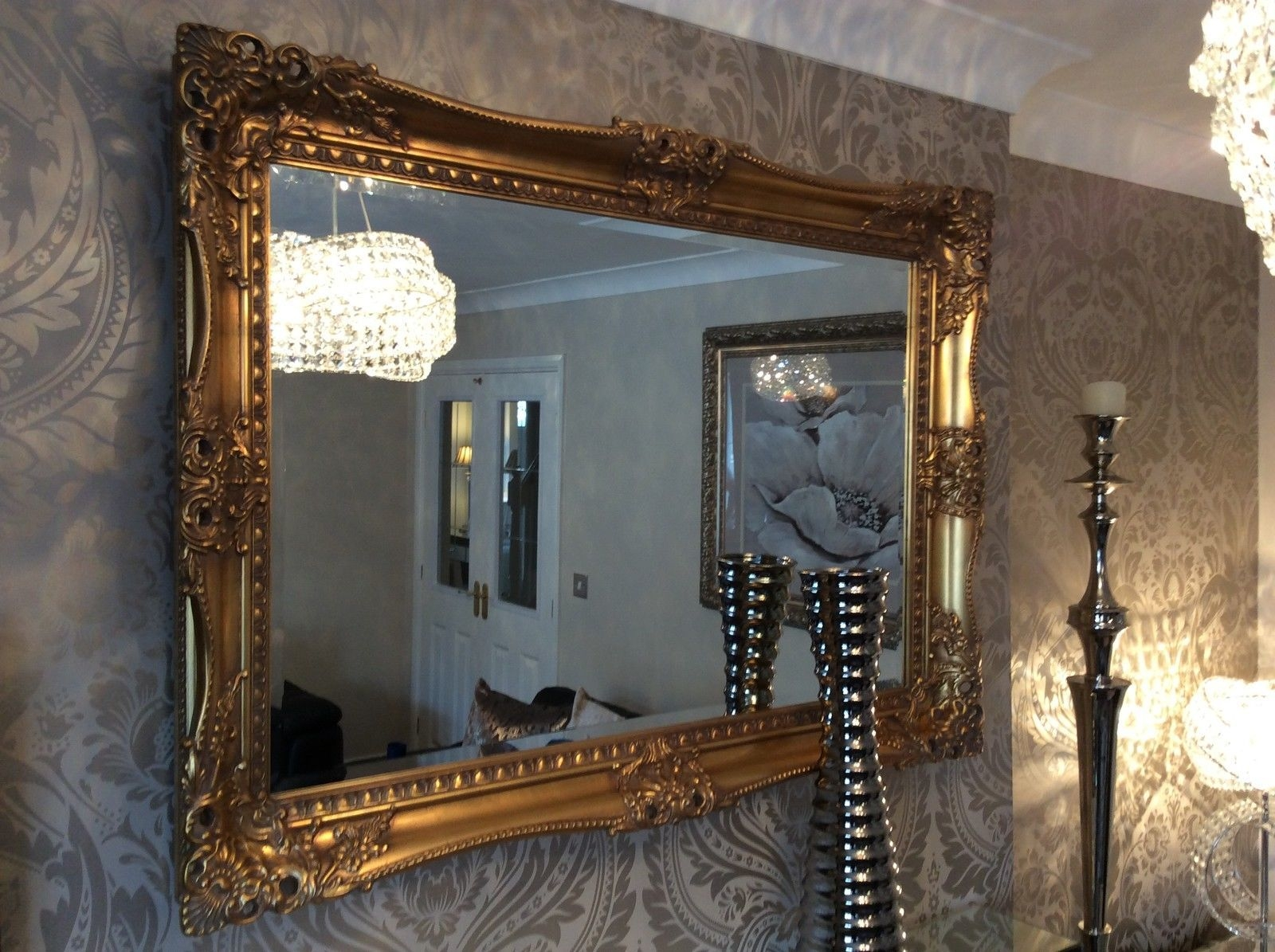 X Large Antique Gold Shab Chic Ornate Decorative Wall Mirror Regarding Antique Gold Mirror Large (Image 15 of 15)