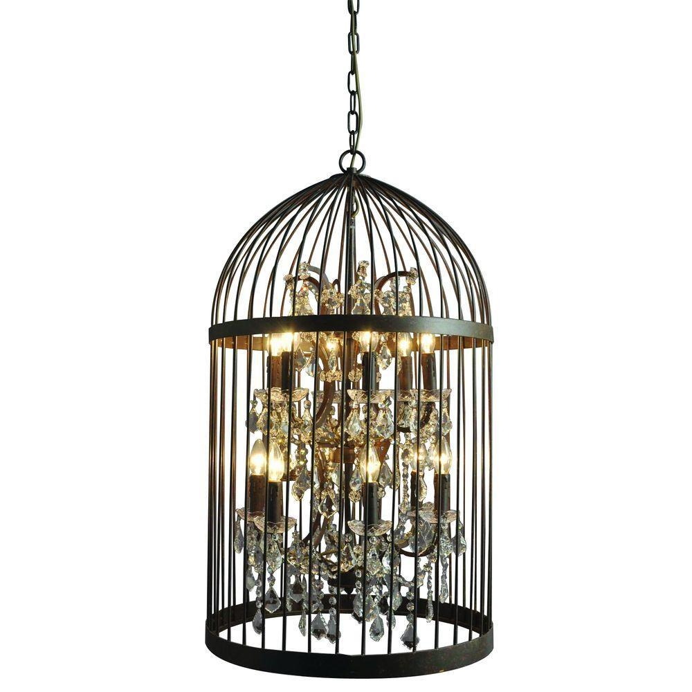 Y Decor Hunter 12 Light Rustic Black Cage Chandelier Lz2079 6 6rr Regarding Caged Chandelier (Image 15 of 15)