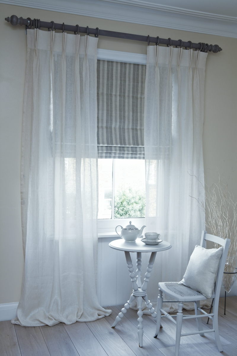 Yes This Is What I Want Sheer Curtains With Roman Shade In Natural Fiber Curtains (Image 15 of 15)