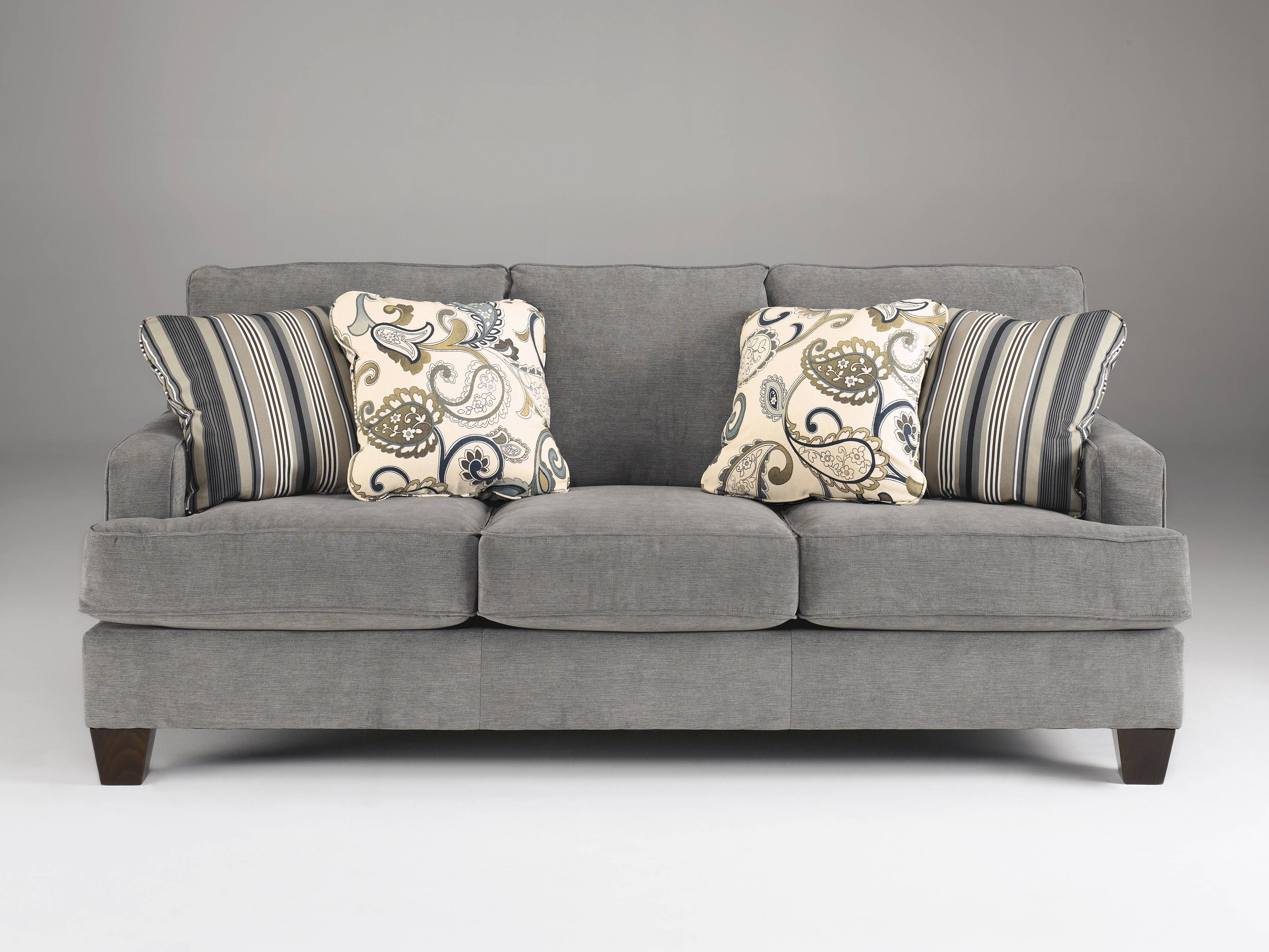 Yvette Casual Steel Gray Fabric Cushion Back Sofa Living Rooms With Regard To Ashley Furniture Gray Sofa (Image 15 of 15)