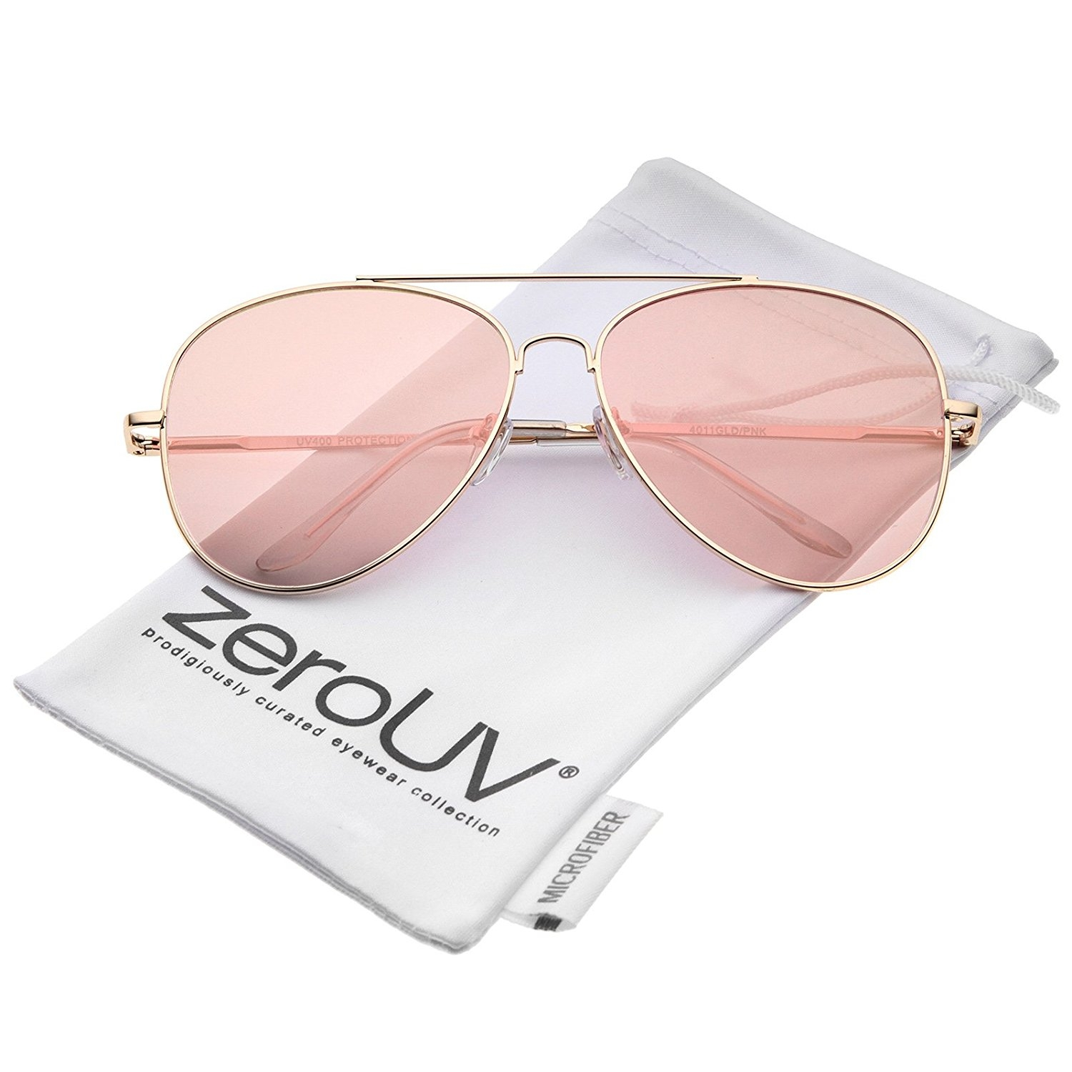 Zerouv Large Metal Rose Gold Frame Pink Mirror Flat Lens Aviator Intended For Large Pink Mirror (Photo 14 of 15)