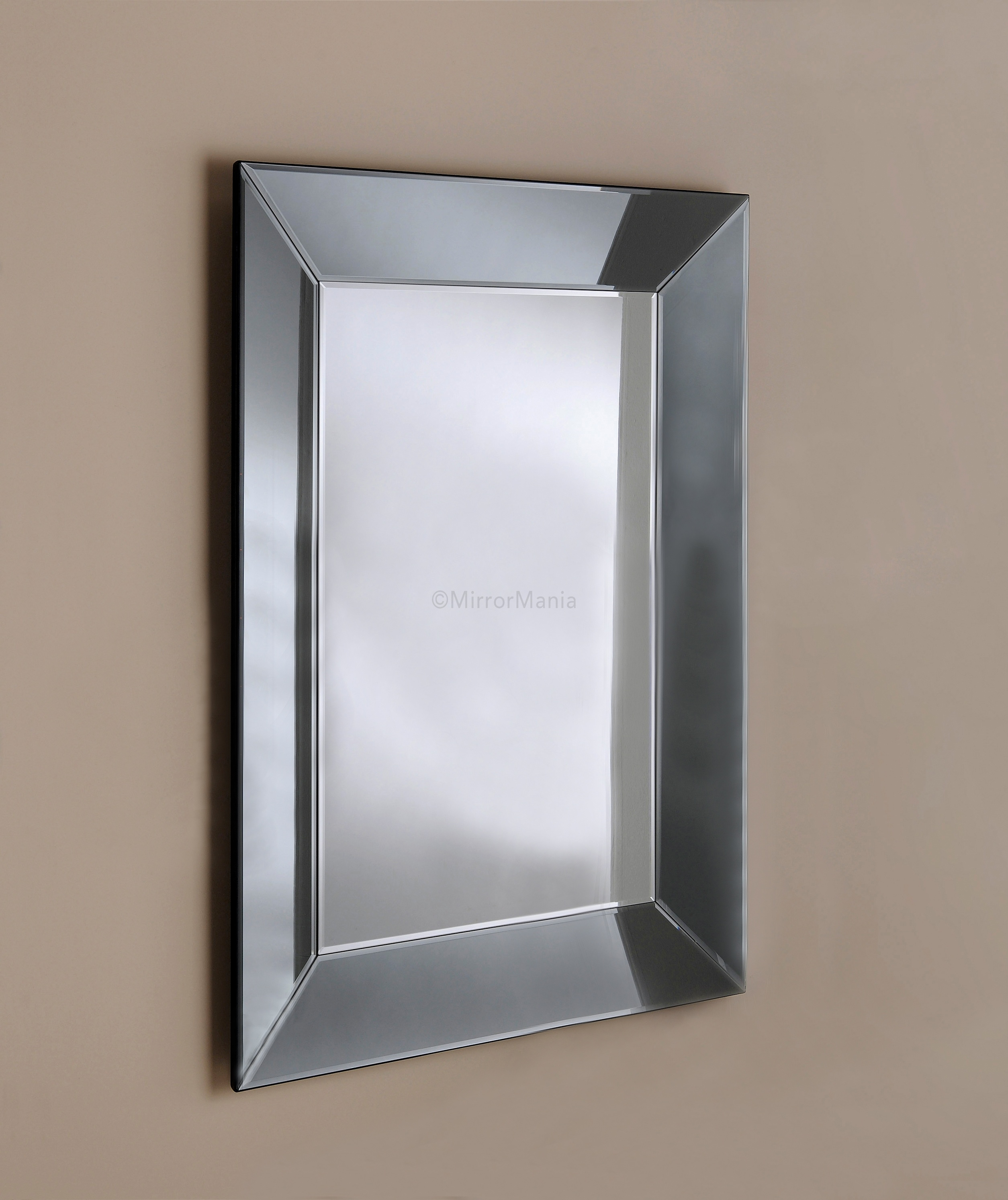 Zeus Handmade Modern Bevelled Tray Mirror With Grey Tinted Mirror Pertaining To Double Bevelled Mirror (Image 15 of 15)