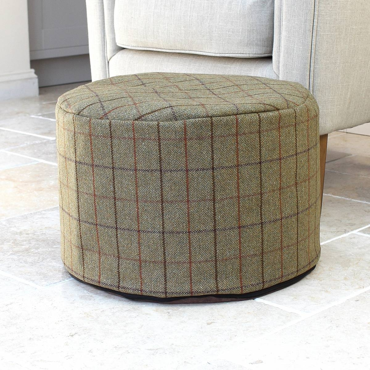100 Wool Fabric Footstool Traditional Green Check Wool Fabric Stool Intended For Fabric Footstools And Pouffes (Image 1 of 15)