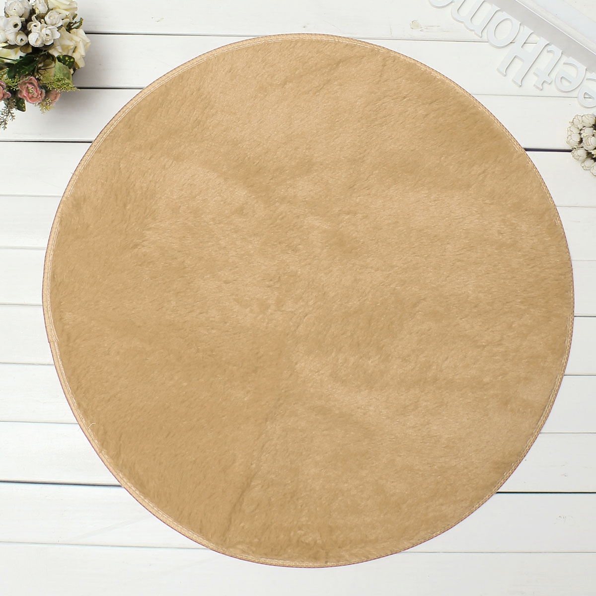 11 Solid Colors Round Circle Circular Modern Shaggy Rugs Mats 80cm With Round Mats Rugs (Image 1 of 15)