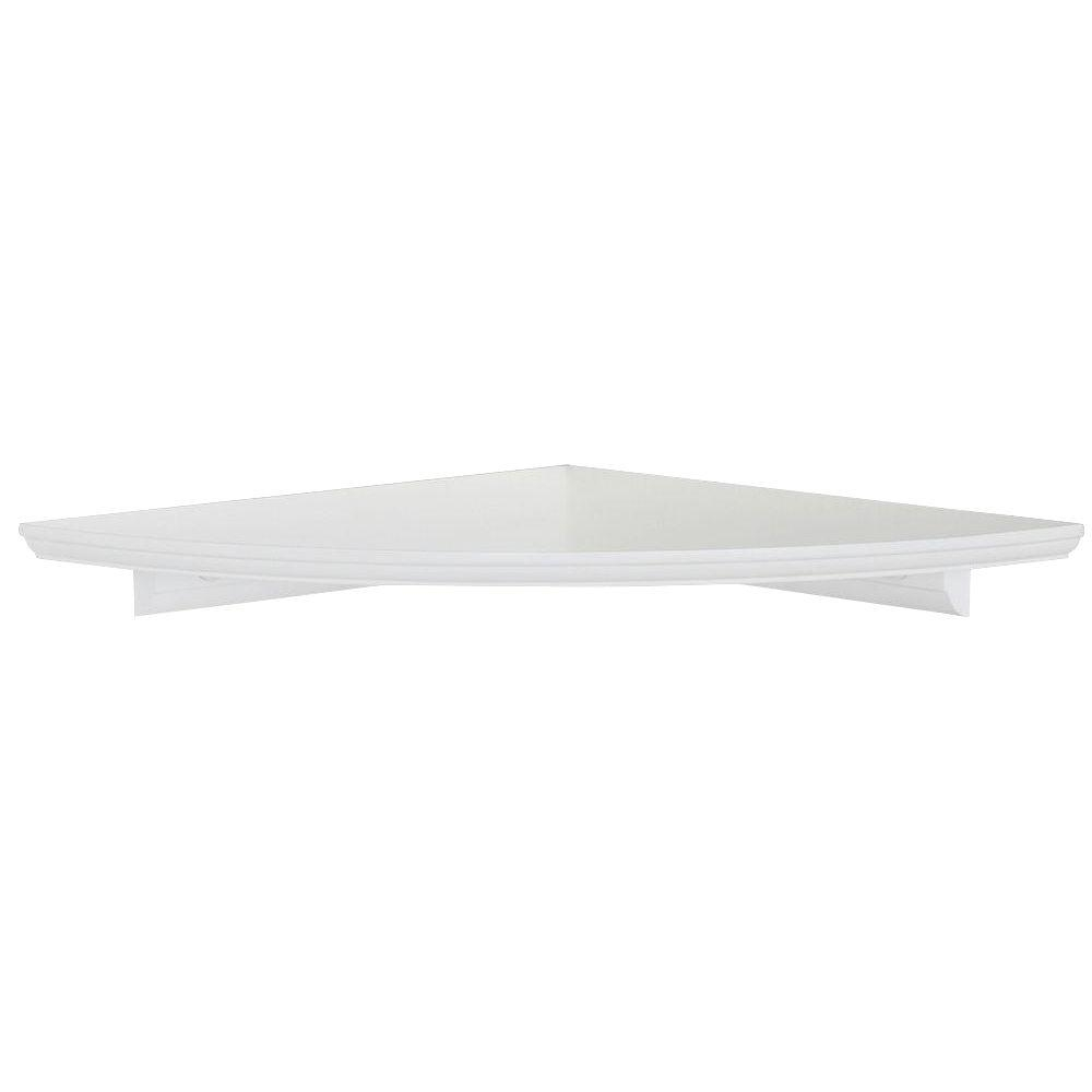 12 In W White Floating Mdf Corner Shelf Hdrcc12w The Home Depot With Regard To Corner Shelf (Image 1 of 15)