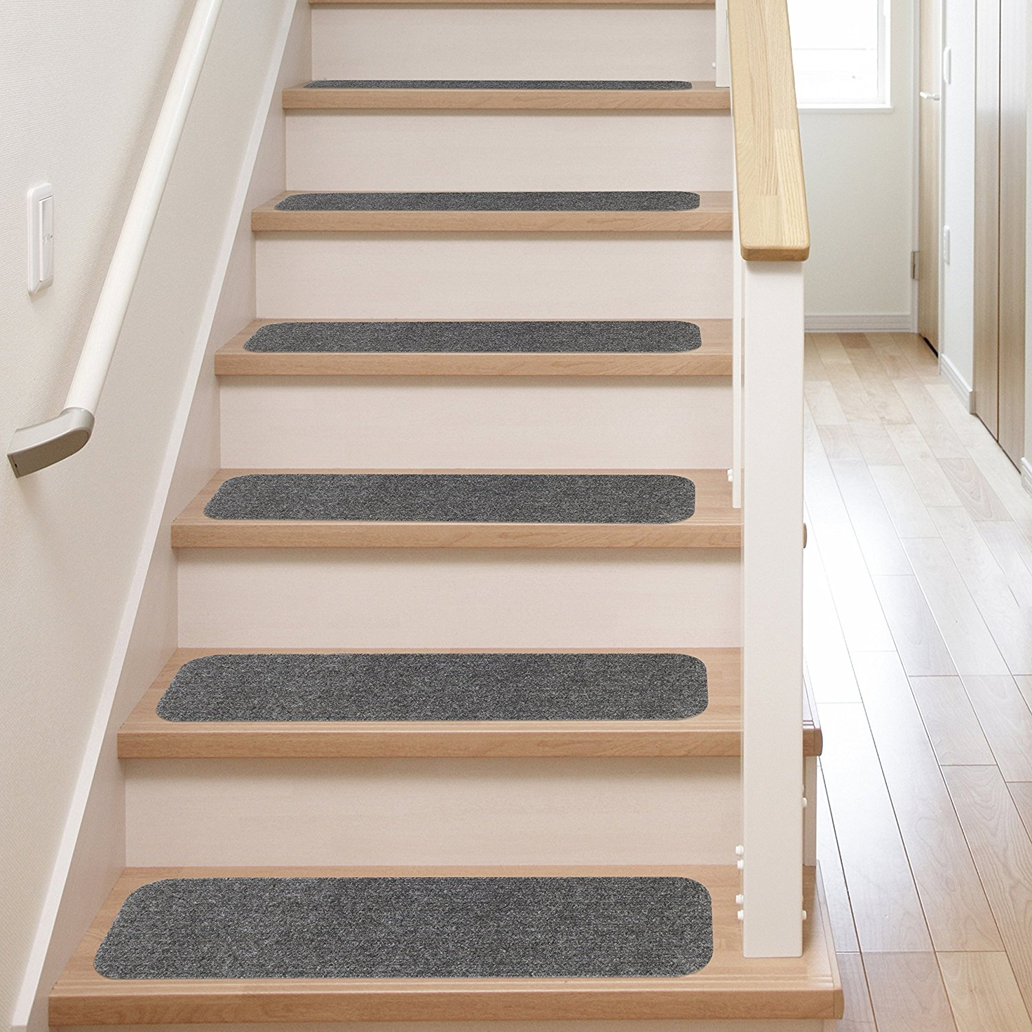 13 Stair Treads Non Slip Carpet Pads Easy Tape Installation Throughout Fabric Stair Treads (Image 1 of 15)
