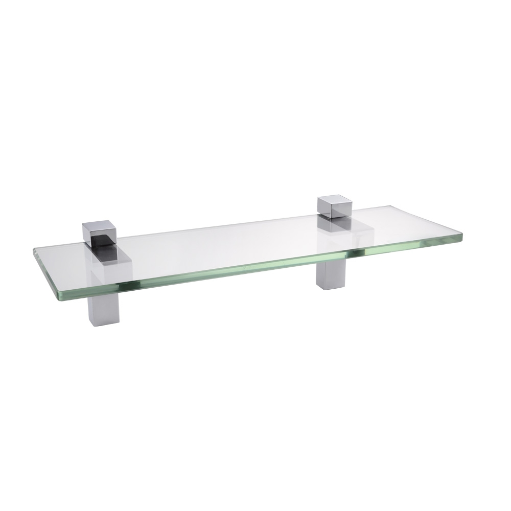 14 Inch Bathroom Tempered Glass Shelf 8mm Thick Wall Mount For Wall Mounted Glass Shelf (Image 1 of 15)