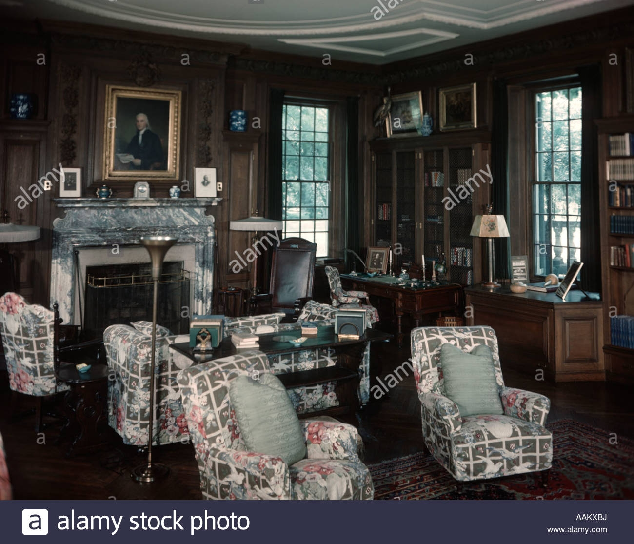 1930s 1940s Interior Of Library Room With Chintz Covered Chairs With Chintz Covered Sofas (Image 1 of 15)
