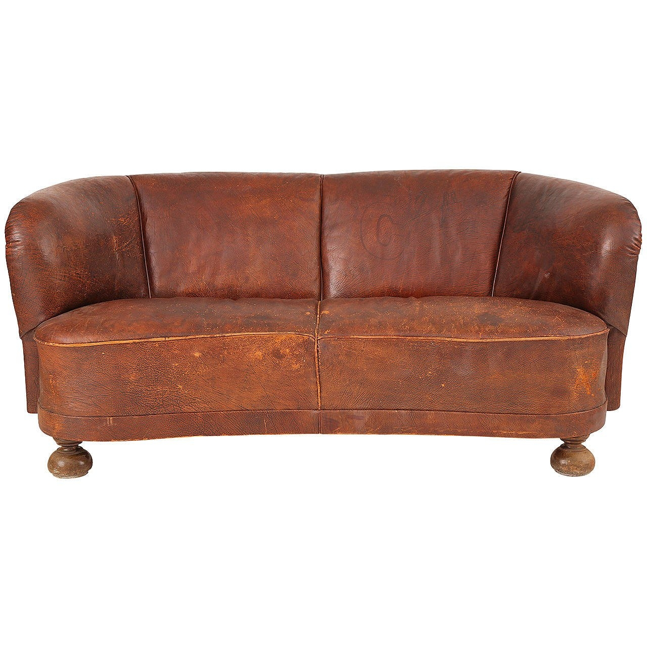 1930s Free Form Danish Leather Sofa After Flemming Lassen For Sale Pertaining To 1930s Sofas (Image 1 of 15)