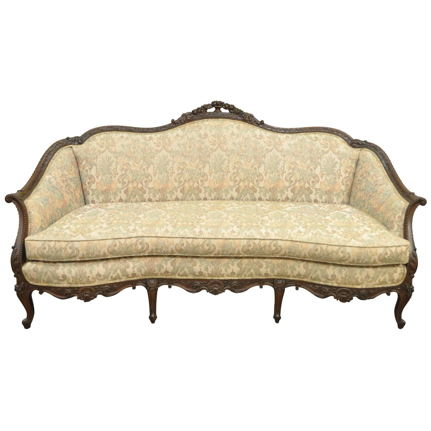1930s French Louis Xv Hollywood Regency Style Finely Carved Pertaining To 1930s Sofas (Image 2 of 15)