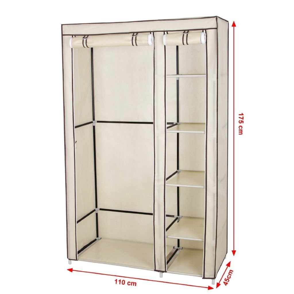 2 Beige Double Canvas Wardrobe Cupboard Clothes Hanging Rail For Wardrobe Double Hanging Rail (Image 1 of 15)