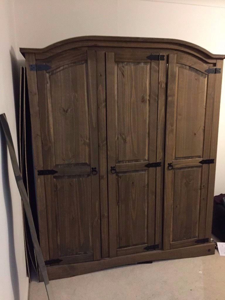 3 Door Dark Wooden Wardrobe 6 Months Old From Argos 100 Ono Throughout Dark Wood Wardrobes (Image 1 of 15)