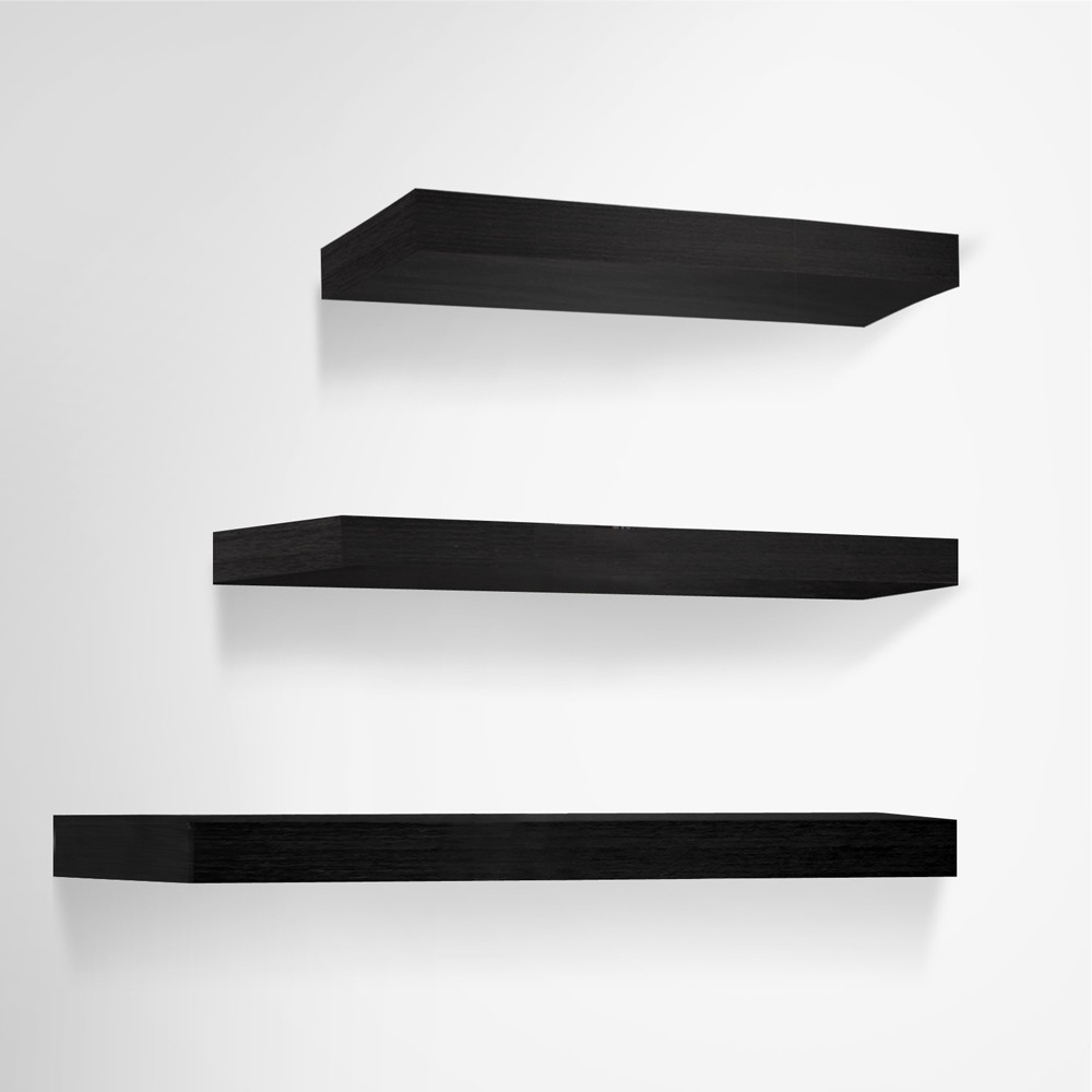 3 Pcs Wall Floating Shelf Set Bookshelf Display Black For Floating Shelf 40cm (Image 1 of 15)