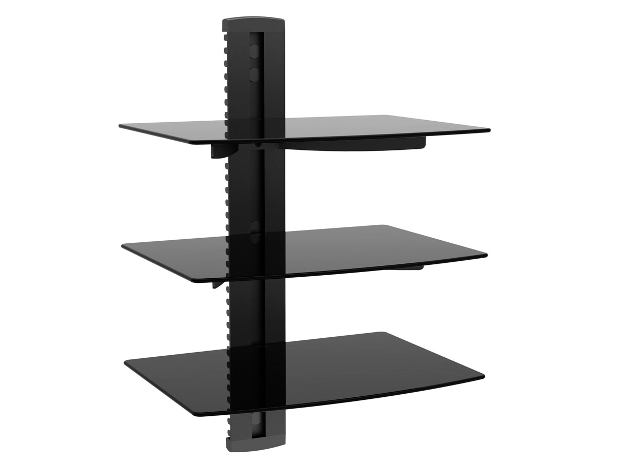 3 Tier Electronic Component Glass Shelf Wall Mount Bracket With In Cable Glass Shelf System (Image 1 of 15)