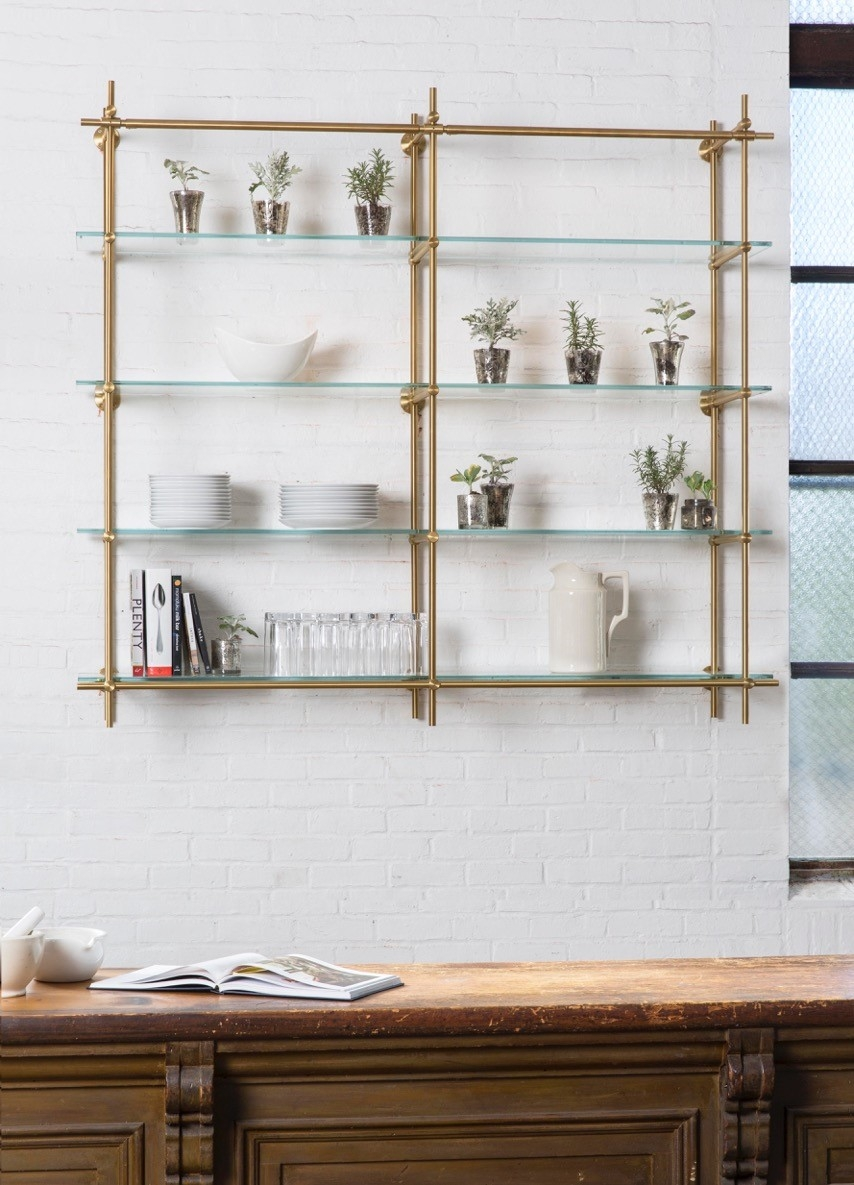 30 Shelf Designs For Every Room In Your Home White Dinnerware With Cable Suspended Glass Shelves (Image 2 of 15)