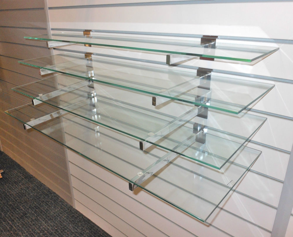 4 Toughened Glass Shelves With Or Without Slatwall Brackets Wall Regarding Hanging Glass Shelves Systems (Image 2 of 15)