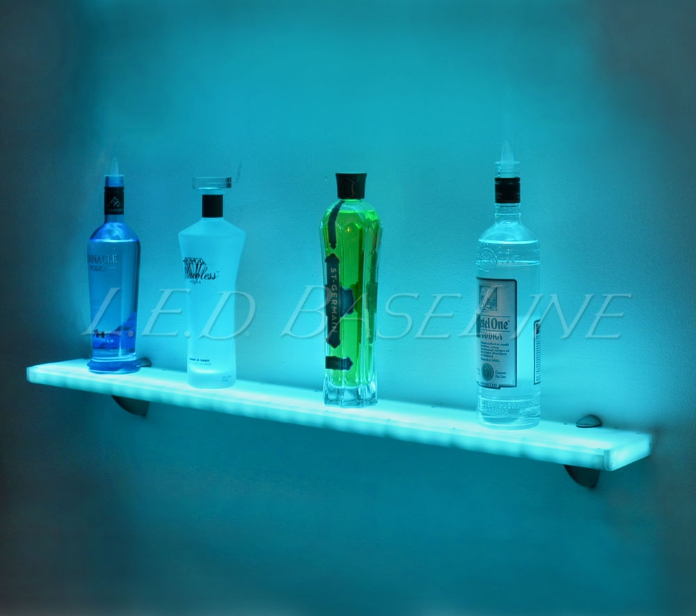44 Led Lighted Wall Mounted Floating Shelf Liquor Bottle Glass Intended For Glass Shelves With Lights (Image 2 of 15)