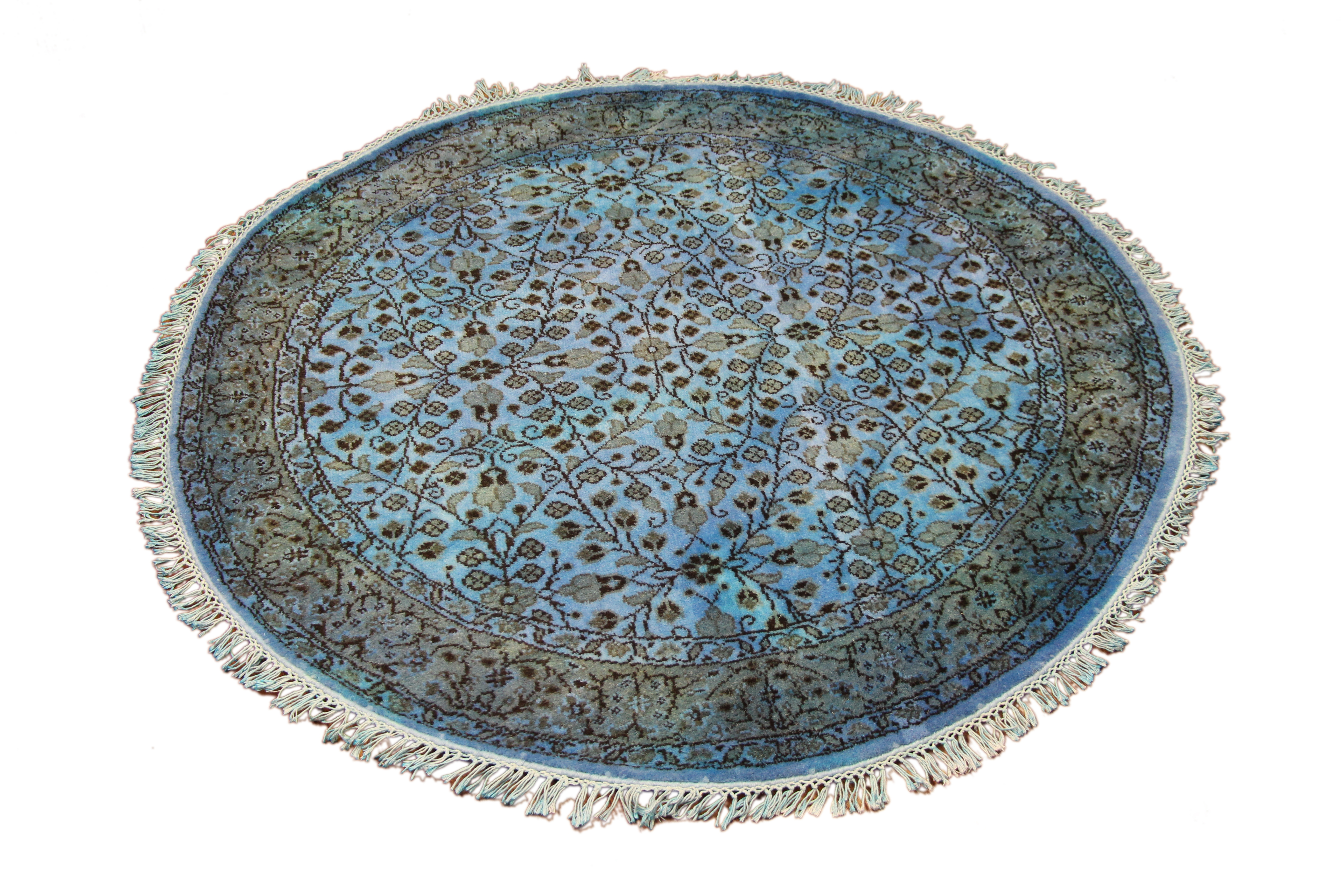 5 Ft Round Overdyed Rug Throughout Round Wool Rugs (Image 3 of 15)