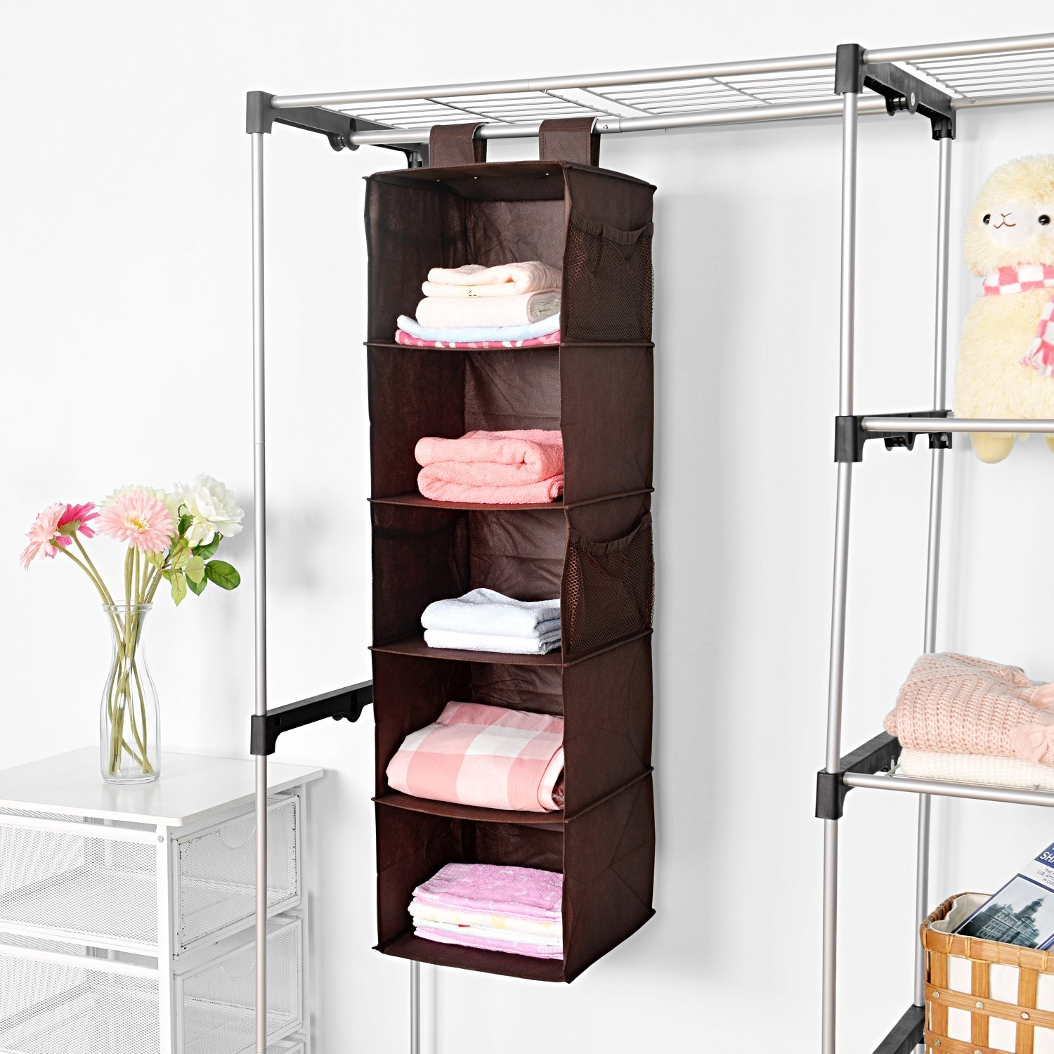 5 Shelf Hanging Closet Organizer Maidmax Brown Hanging Accessory Regarding Hanging Wardrobe Shelves (Image 3 of 25)