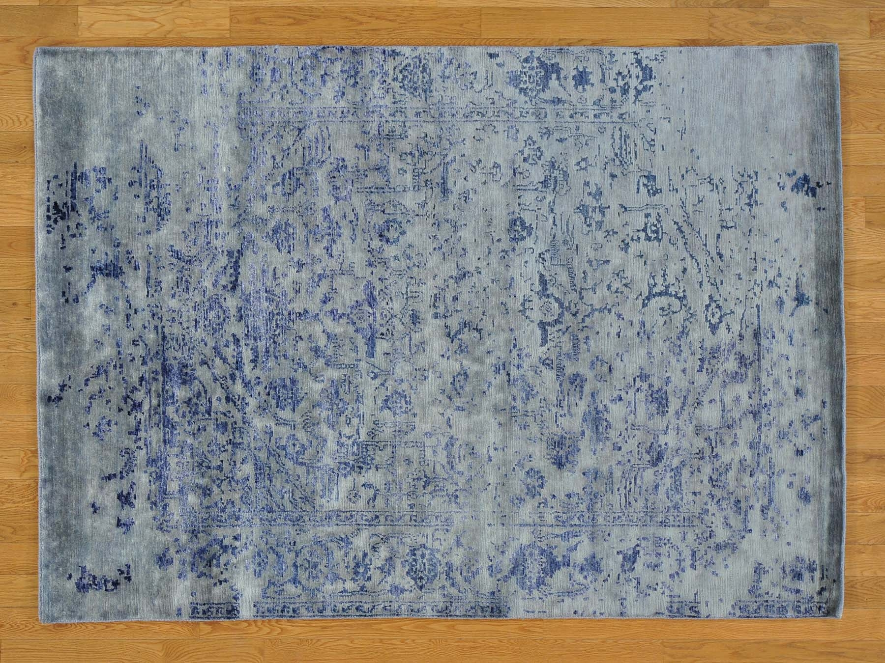 5 X 7 Silver Blue Wool And Silk Hand Knotted Broken Design With Knotted Wool Rugs (Image 1 of 15)