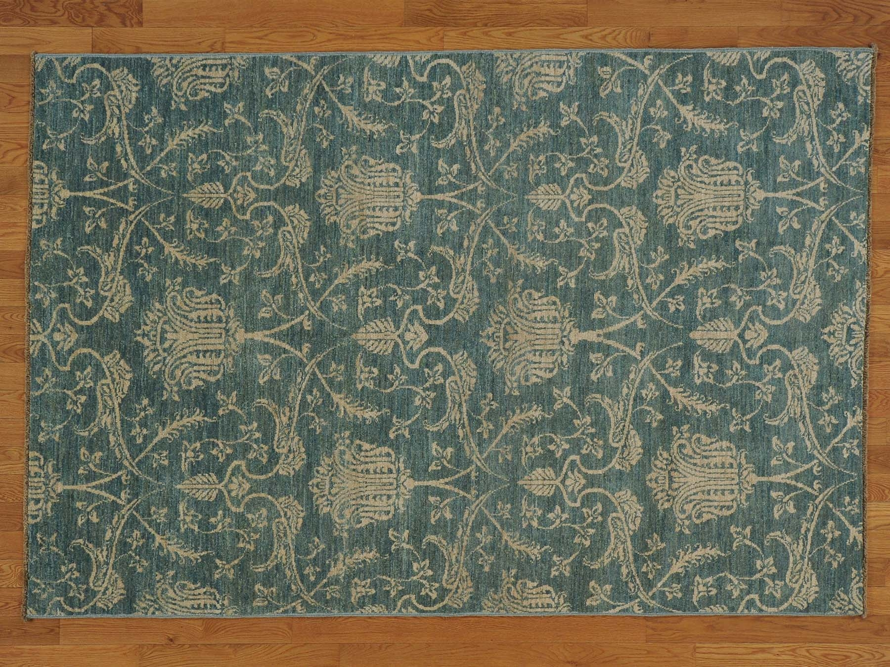 55 X 8 Denim Blue Transitional Hand Knotted 100 Wool Oriental Pertaining To Knotted Wool Rugs (Image 2 of 15)