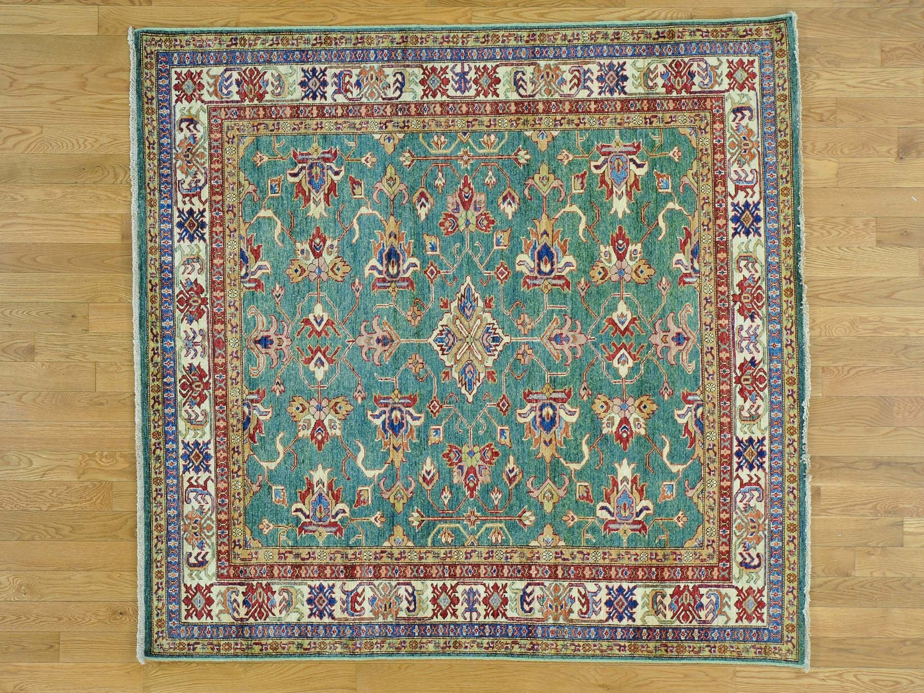 6 X 6 Light Green Pure Wool Square Super Kazak Geometric Design For Square Rugs 6× (Image 1 of 15)