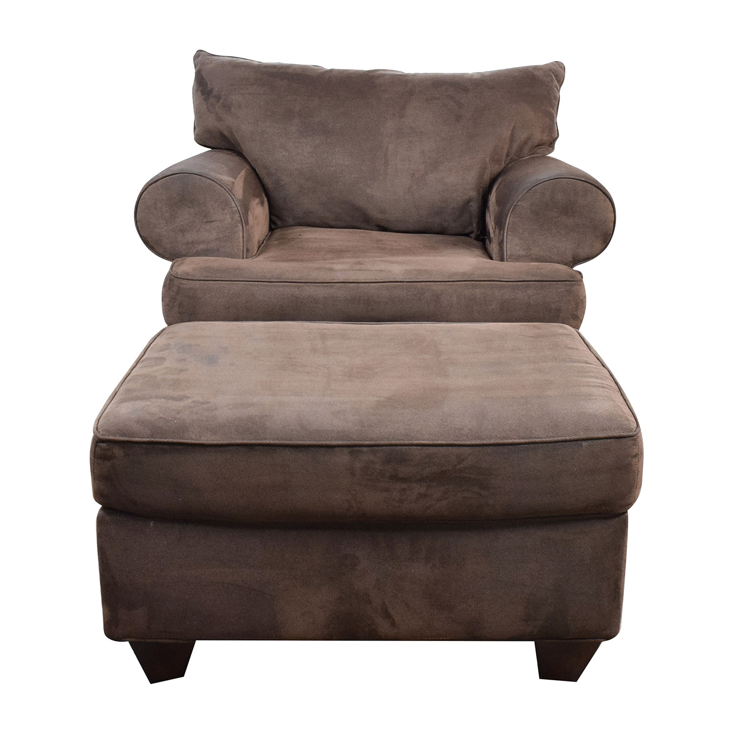 67 Off Dark Brown Sofa Chair With Ottoman Chairs Within Sofa Chair And Ottoman (Image 1 of 15)