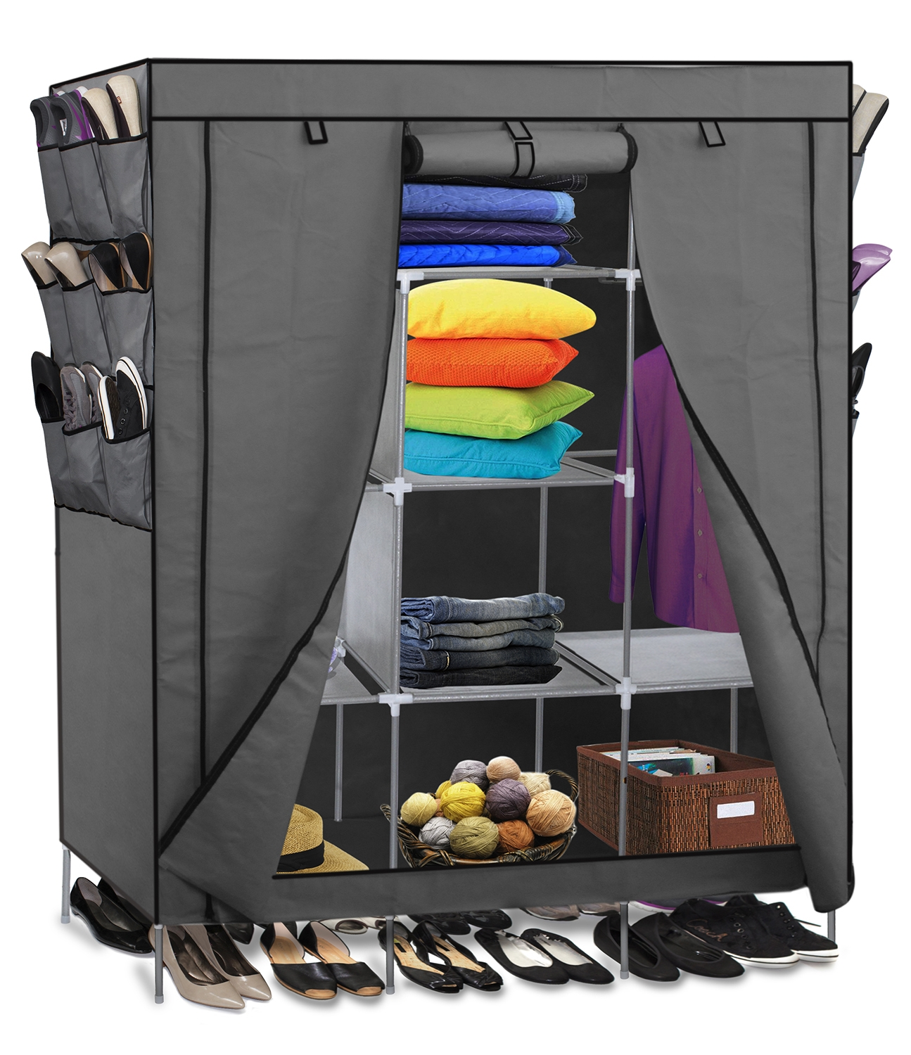 69 Portable Closet Storage Organizer Clothes Wardrobe Shoe Rack With Regard To Wardrobe With Shelves (View 20 of 25)
