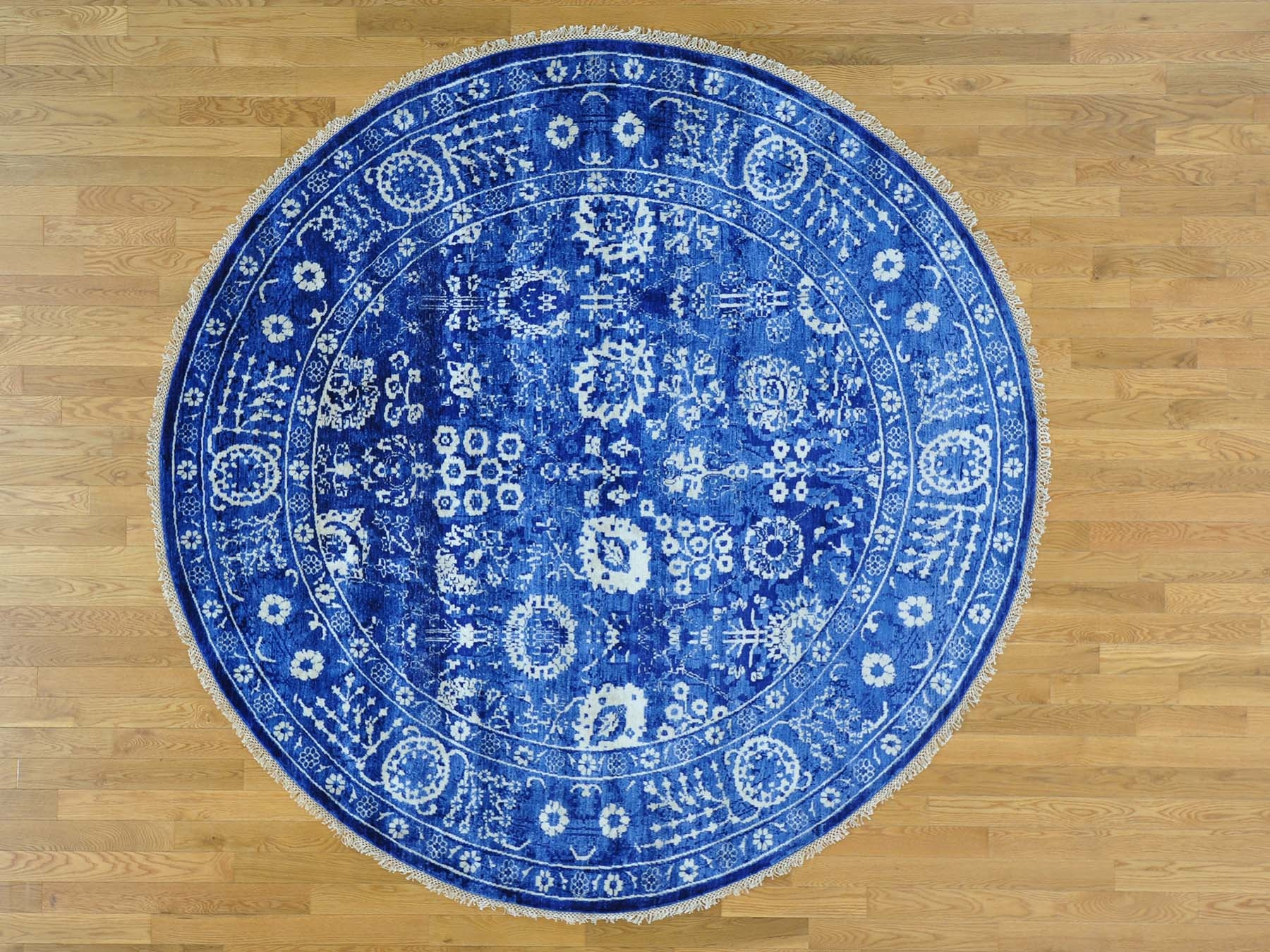 8 X 8 Round Wool And Silk Tone On Tone Tabriz Oriental Rug Within Round Wool Rugs (Image 5 of 15)