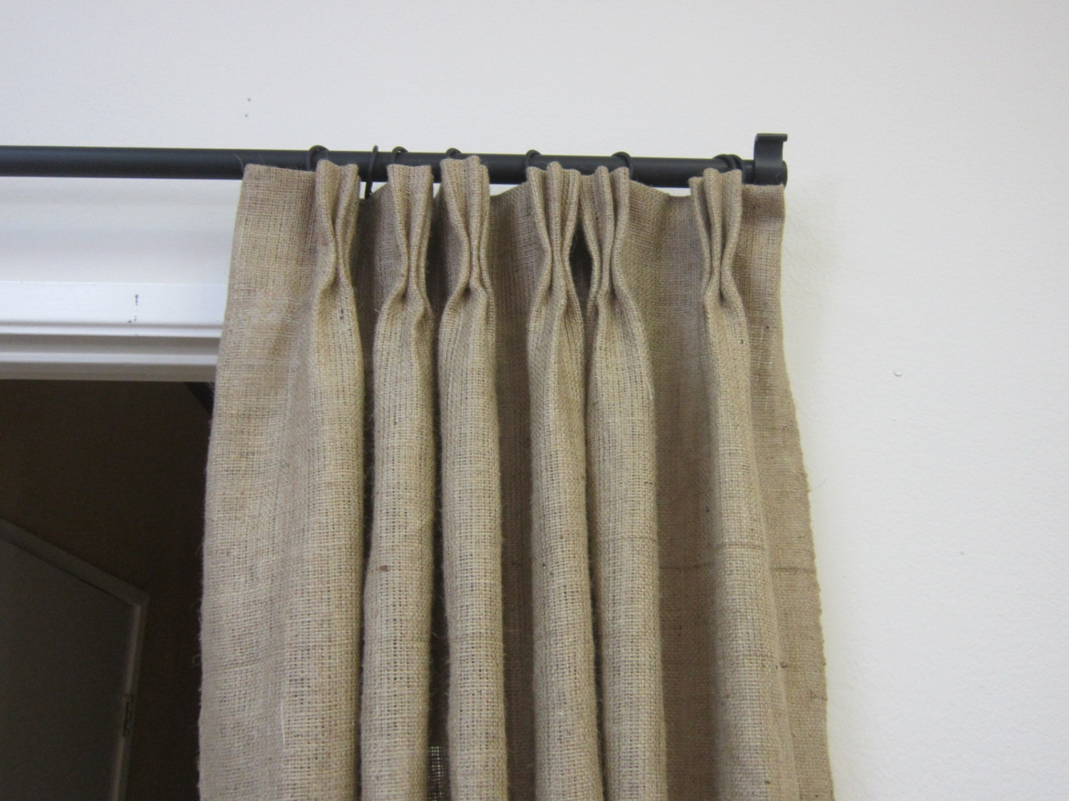 84 95 Pinch Pleat Burlap Panels Pinch Pleat With Burlap Curtains (Image 1 of 25)