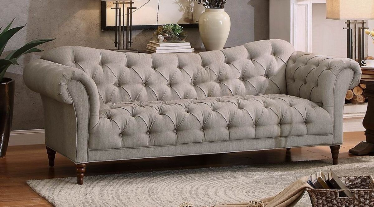8469 3 Traditional Brown Almond Fabric Sofa Couch Tufting Rolled Arm Within Traditional Fabric Sofas (Image 1 of 15)
