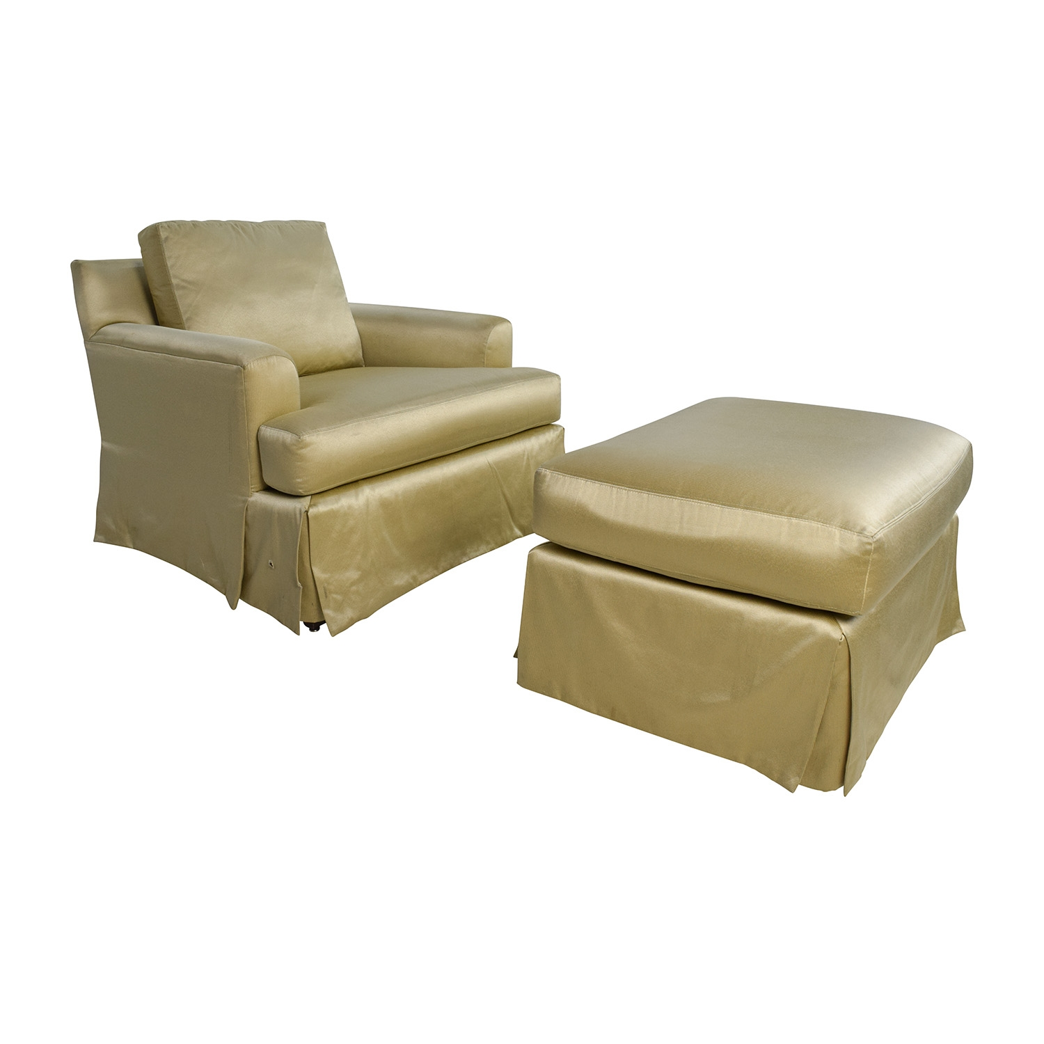 90 Off Abc Carpet And Home Abc Carpet Home Gold Sofa Chair Throughout Sofa Chair With Ottoman (Photo 15 of 15)