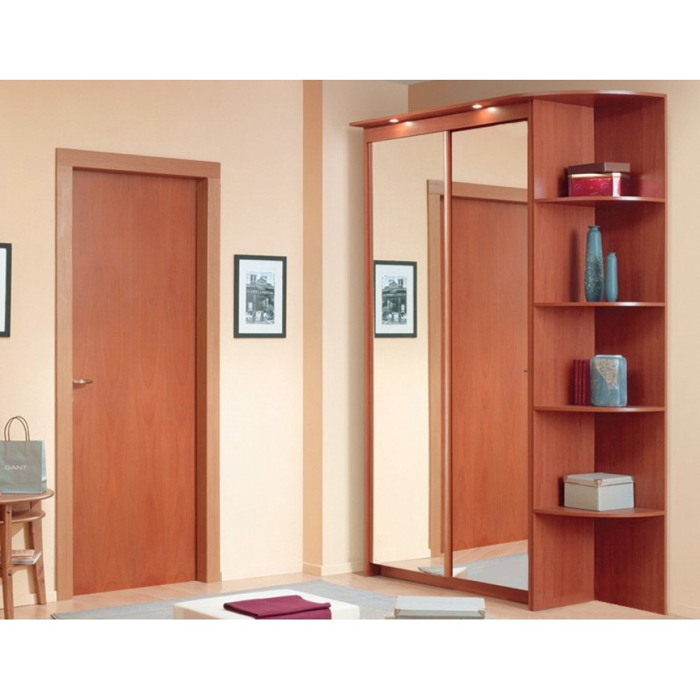 92850 Baikal Mirror Sliding Doors Wardrobe With Corner Shelf With Wardrobes With Shelves (Photo 7 of 15)