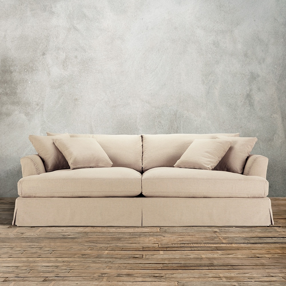 94inch Slipcovered Sofa Deso Sand Color Washable Cotton Blend Within Washable Sofas (Image 2 of 15)