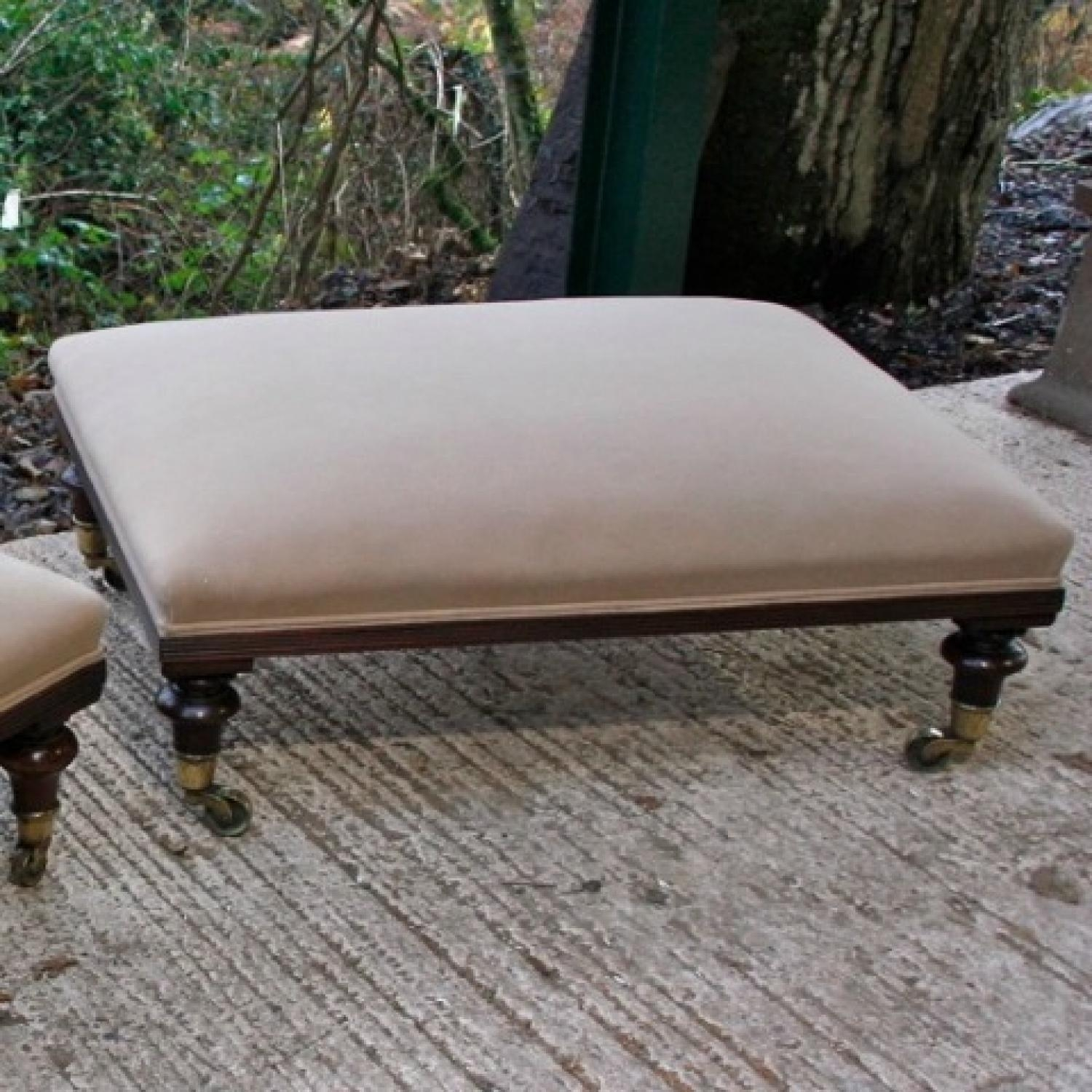 A Pair Of Large Footstools C1890 In Warehouse Seating Intended For Large Footstools (Image 1 of 15)