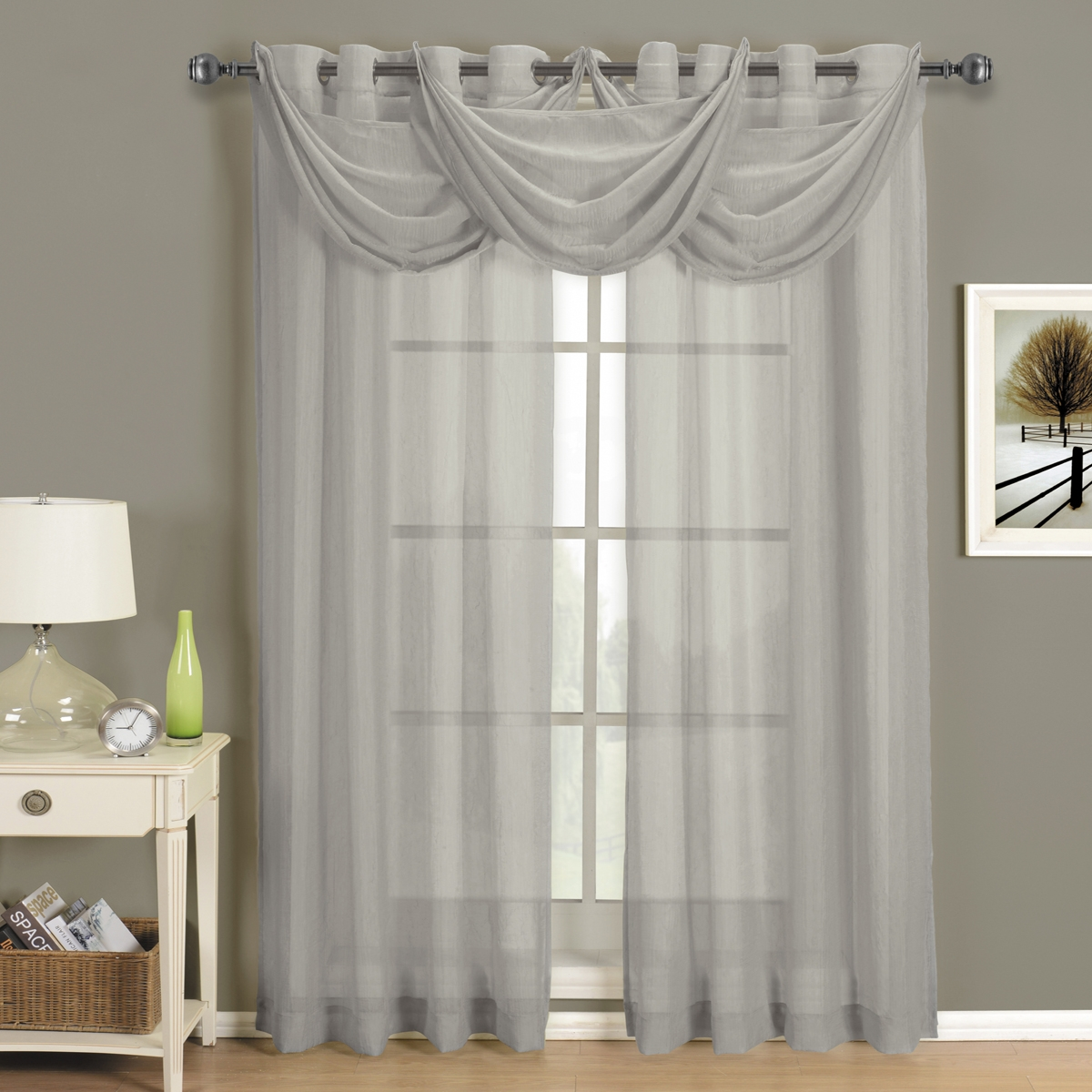 Abri Grommet Crushed Sheer Curtain Panel Ebay Inside Sheer White Curtain Panels (Image 1 of 25)