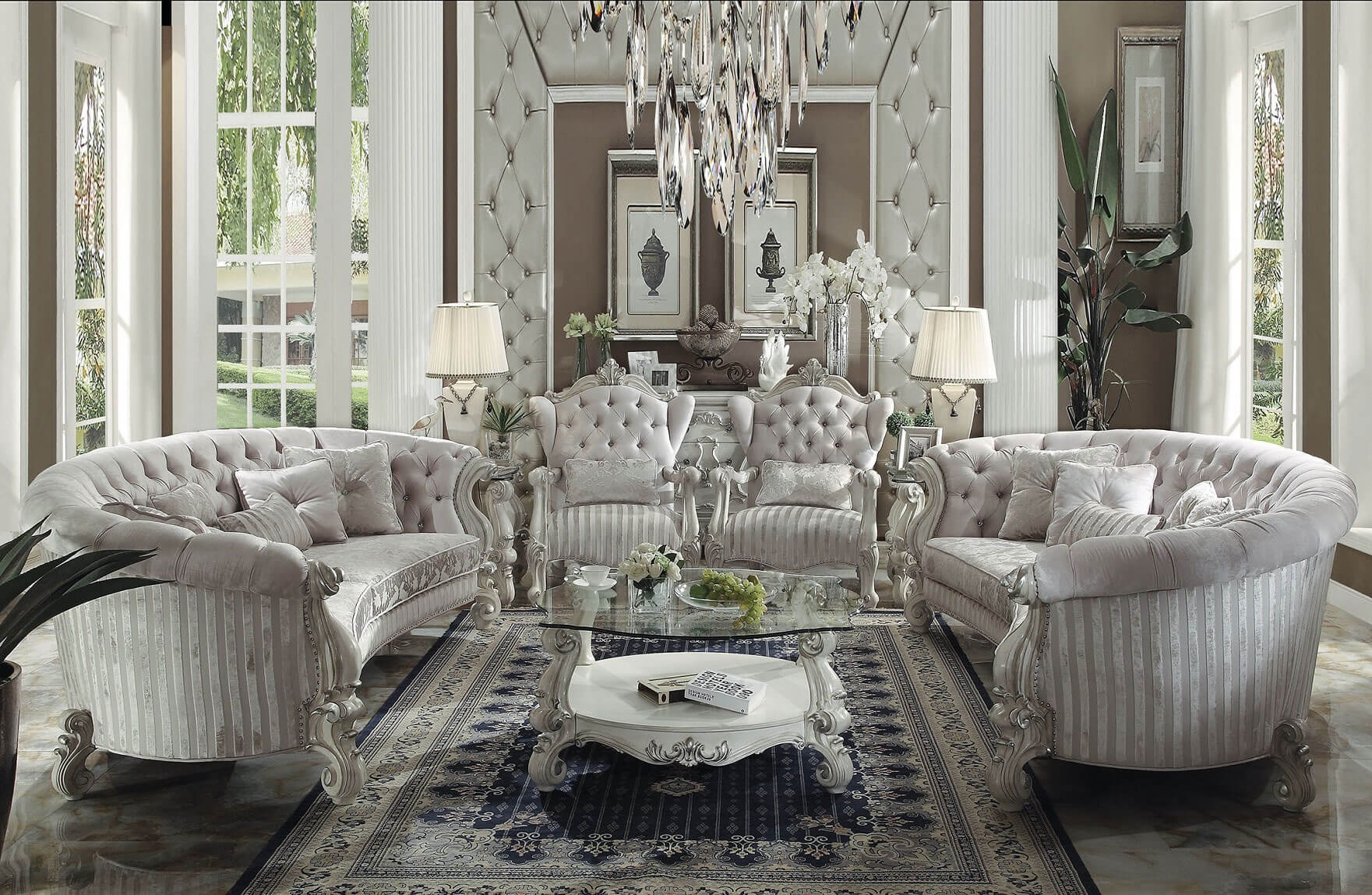 Acme Versailles Accent Chair Ivory Velvet Fabric Usa Furniture Within Sofa And Accent Chair Set (Image 2 of 15)