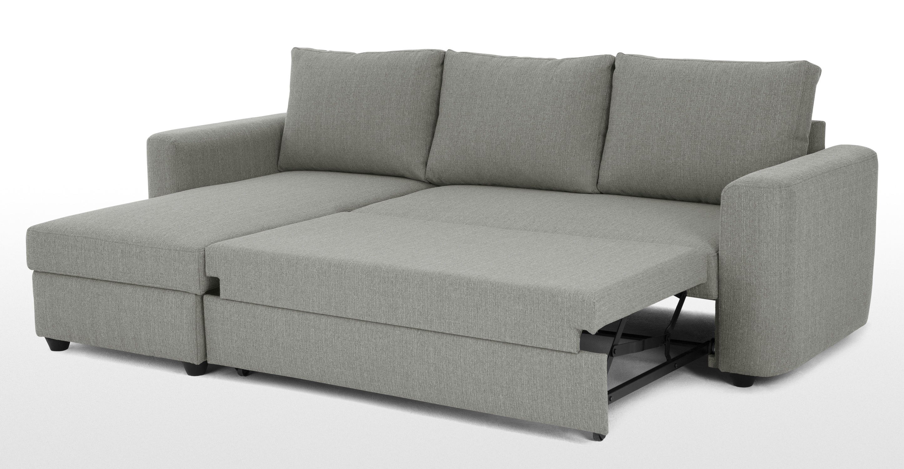 Aidian Corner Storage Sofa Bed Silver Grey Made Within Corner Couch Bed (Image 1 of 15)