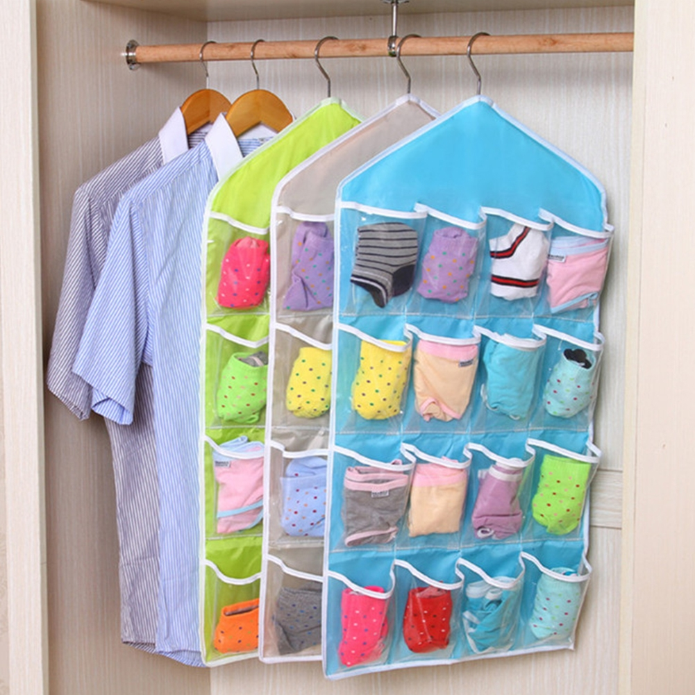 Aliexpress Buy 16 Grids Foldable Wardrobe Hanging Bags Socks Regarding Wardrobe Hangers Storages (Image 2 of 25)
