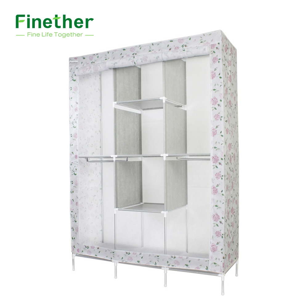 Aliexpress Buy Finether Double Modular Metal Framed Fabric With Wardrobe Double Hanging Rail (Image 3 of 15)