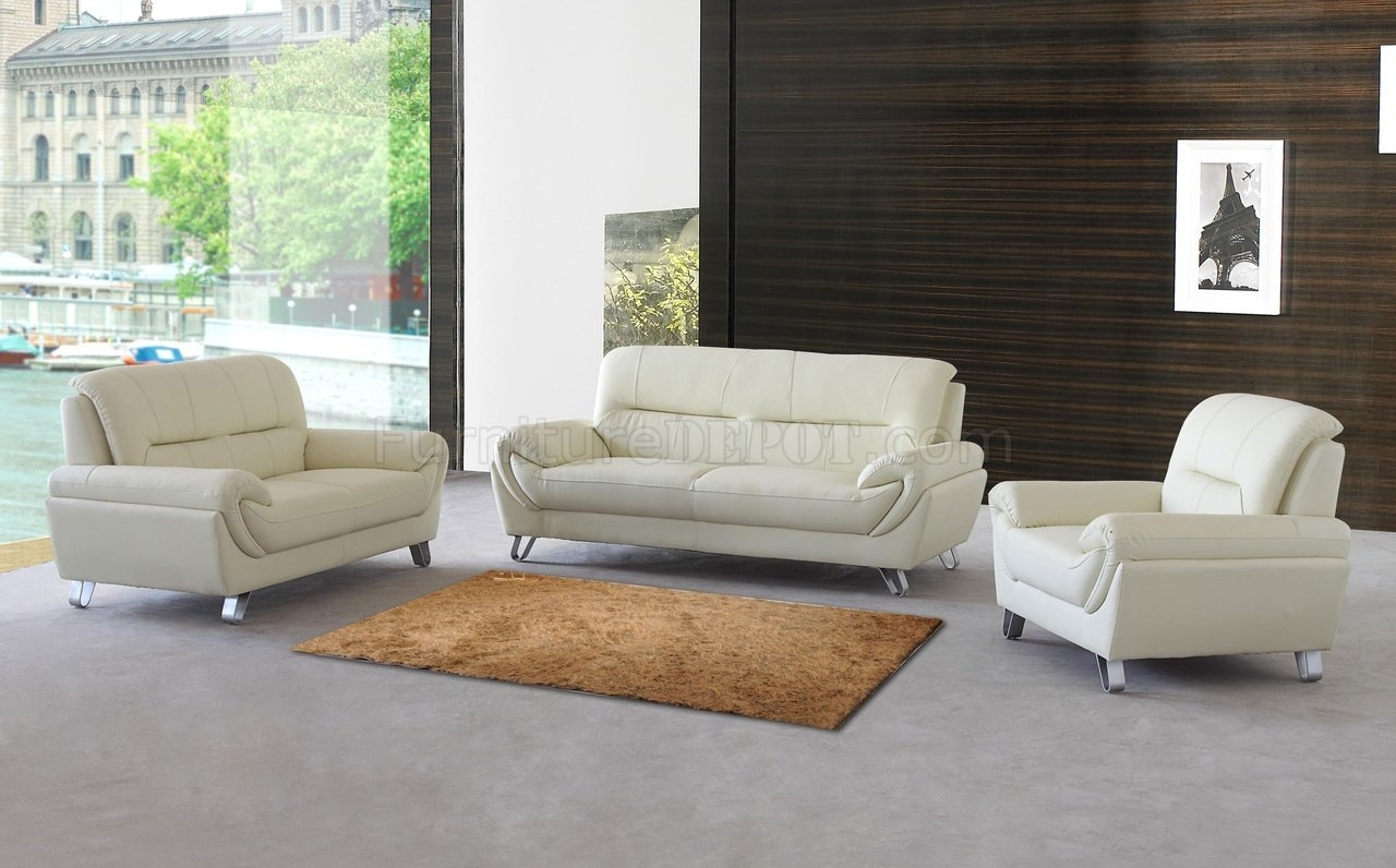 Almond Leather Modern Sofa Loveseat Chair Set Woptions With Sofa Loveseat And Chair Set (Image 2 of 15)