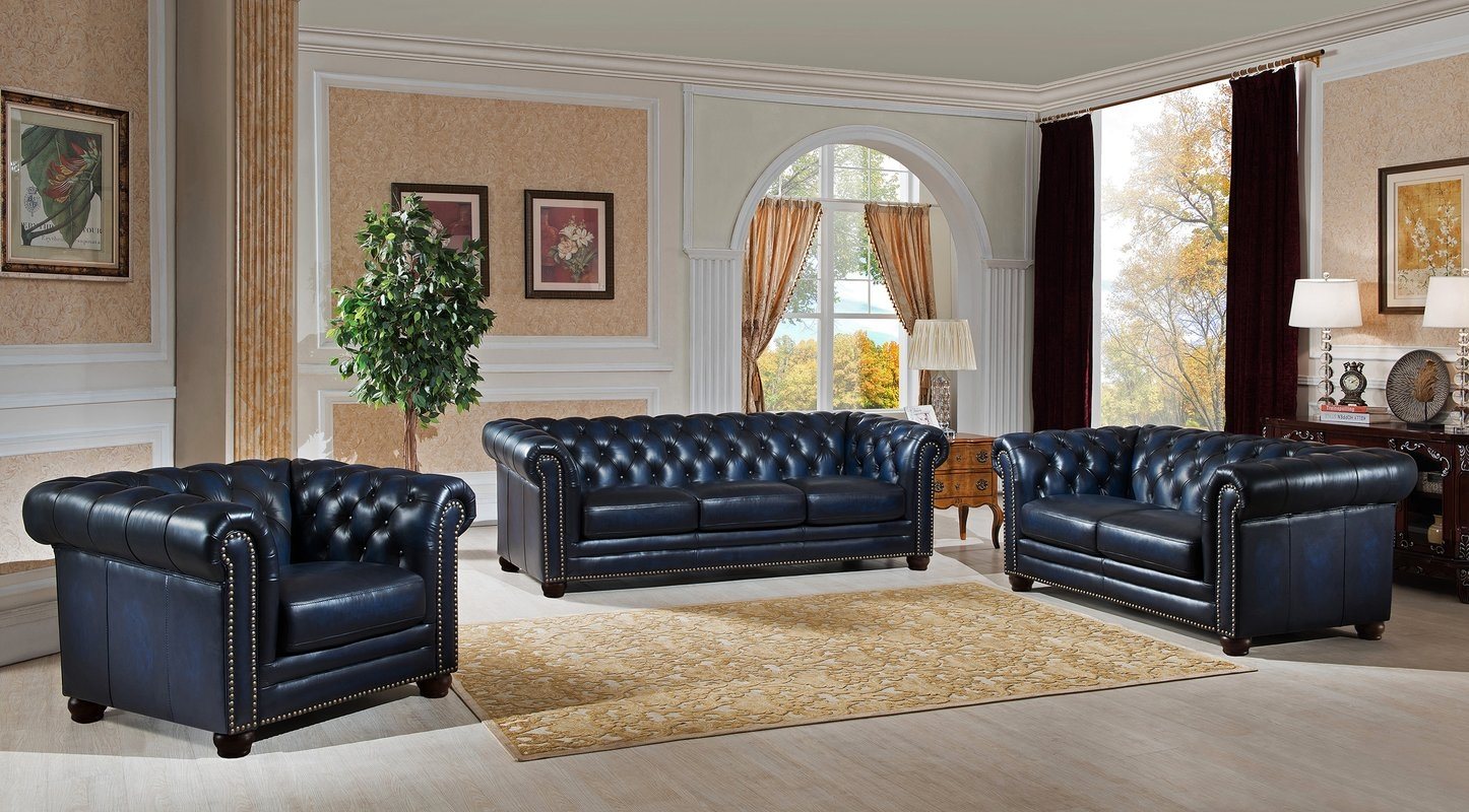 Amax Nebraska Chesterfield Genuine Leather Sofa Loveseat And Pertaining To Sofa Loveseat And Chair Set (Image 3 of 15)