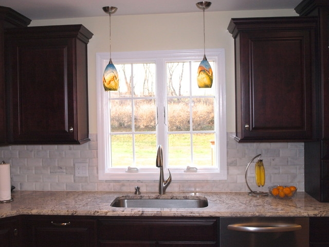 Amazing Brand New Double Pendant Lights For Kitchen Pertaining To Double Pendant Lights Over Sink Traditional Kitchen Newark (Image 1 of 25)