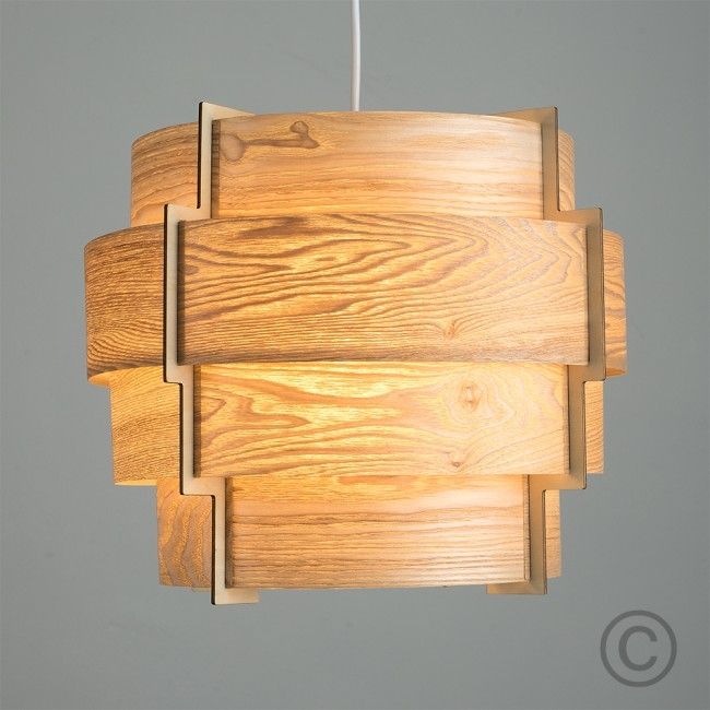 Amazing Common Wood Veneer Light Fixtures Within Retro Tiered Drum Pendant Shade In Wood Veneer Finish Light On (View 21 of 25)