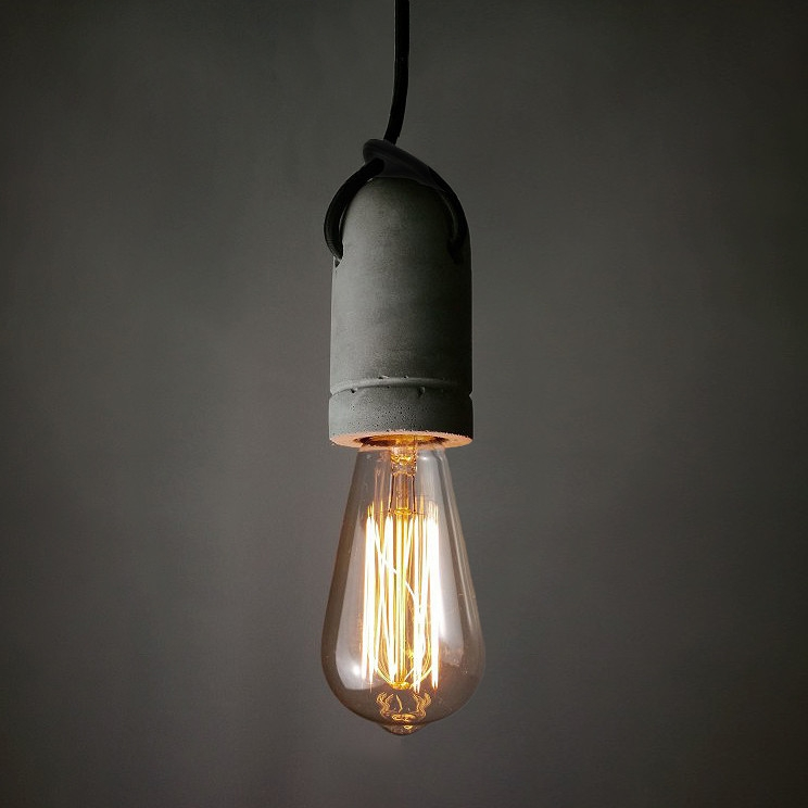 Amazing Deluxe Bare Bulb Pendant Lighting Regarding Concrete Pendant Light Cast Cement Bare Bulb Pendant Light (Image 1 of 25)