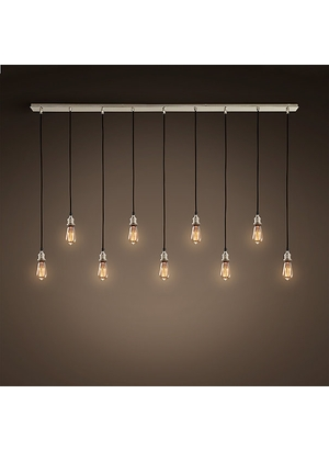 Amazing Elite Bare Bulb Filament Pendants Polished Nickel Throughout Restoration Hardware 20th C Factory Filament Bare Bulb (Image 1 of 25)