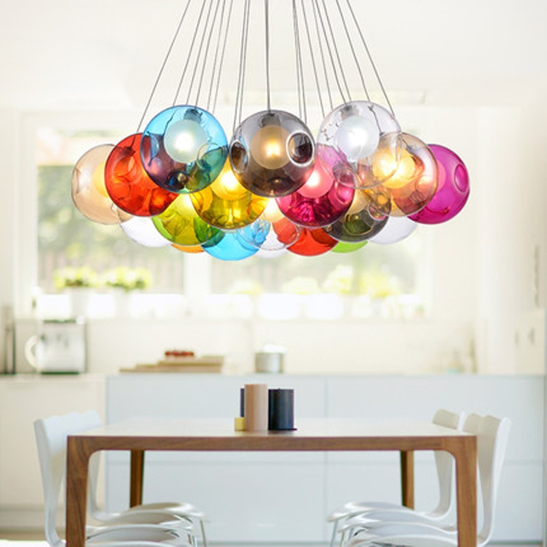 Amazing Elite Multi Coloured Pendant Lights Intended For Aliexpress Buy Modern Glass Ball Pendant Light G4 Blub For (View 6 of 25)